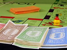 board game and paper money