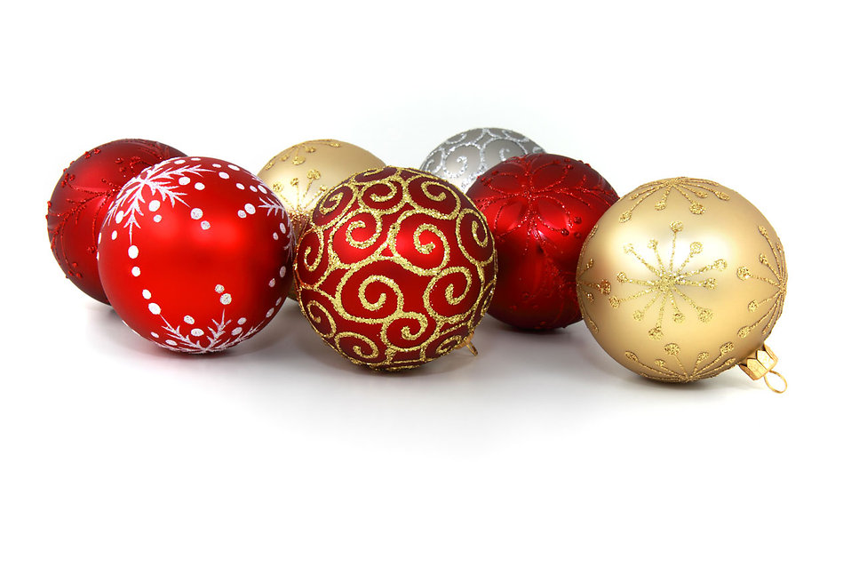 holiday ornaments on white background