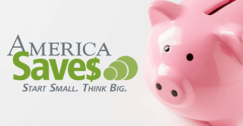 Think Small Save Big with pink piggy bank