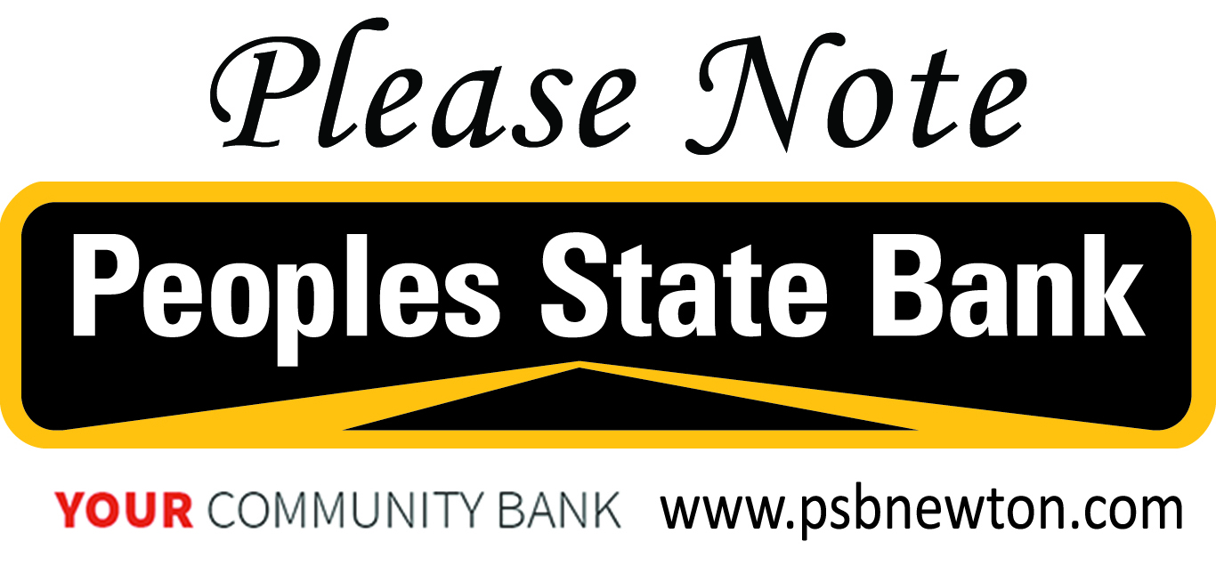 Peoples State Bank logo with slogan and website and Please Note message